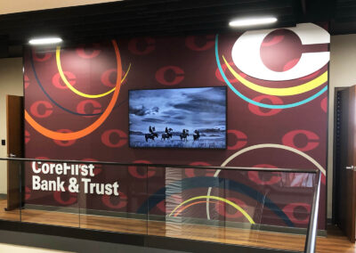 Graphic Vinyl Brand Wall at Corefirst Bank & Trust