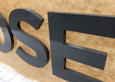 close up of acrylic dimensional letters