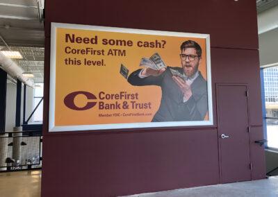 A framed banner advertising CoreFirst Bank & Trust