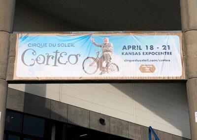 A banner advertising Cirque de Soleil at the Kansas Expocentre