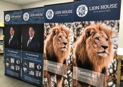 Retractable banner stands for Lion House Financial