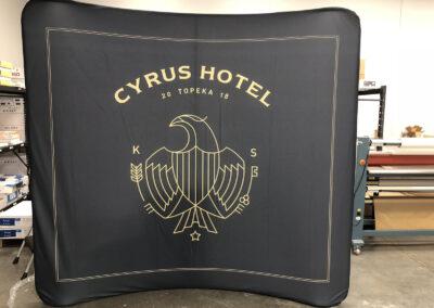 Black stretch fabric backdrop for Cyrus Hotel
