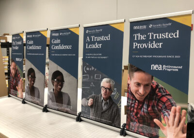 Five tabletop pop up banner stands advertising security benefit