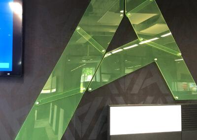 Transparent acrylic stylized A logo